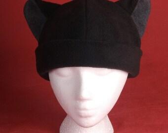 Cat Hat - Mens Womens Black / Gray Fleece Cat Ears by Ningen Headwear