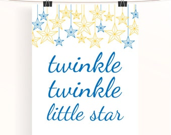 Twinkle twinkle little star - blue and yellow nursery print - baby nursery print - typography poster - royal blue nursery art -kids wall art