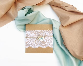 Rustic & lace inspired Wedding invitation