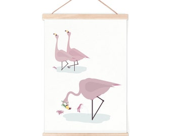 Poster - flamingo   children - nursery   50x70cm - 19,7 x 27,5 inches