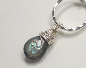 Labradorite Pendant Necklace Sterling Silver