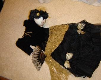 Day of the Dead Goth steampunk black dress women sz 4 Halloween Costume Dia de los Muretos