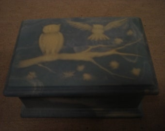 Vintage Marble Like Jewelry Box by Design Gifts International with Owls