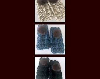 Women's or teen hand knit fingerless, texting gloves with repurposed vintage mink pompoms