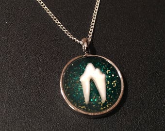 Green Glittery Fox Tooth Necklace