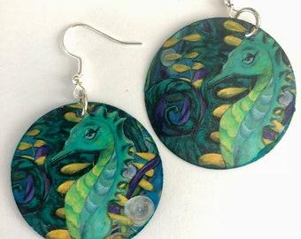 Seahorse Earrings, Seahorse jewelry, Seahorse painting, seahorse print, beach earrings, beach jewelry, nautical jewelry, nautical earrings