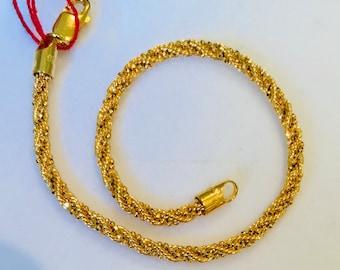 Laser Rope bracelet 22k 916 gold bracelet