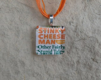 Broadway Play The Stinky Cheese Man Glass Pendant and Ribbon Necklace
