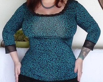 Teal and Black - Leopard Print Top - Plus Size Top - Rockabilly Clothing - Punk Clothing - Psychobilly Clothing