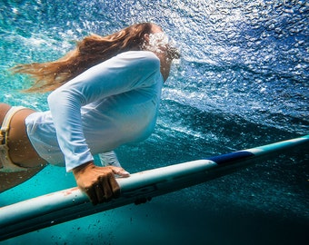 Surfer Girl Duck Diving Blue Water - 8x12 inch (20.32 x 30.48 cm) - DIGITAL DOWNLOAD - Surf Photography - Surfer Photos - Wave Photos