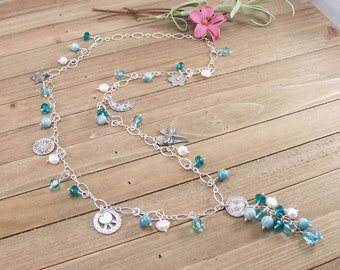 Larimar Quartz, Freshwater Pearl, Swarovski Crystal, Czech Glass  Sterling Silver Necklace with PMC Metal Clay Charms