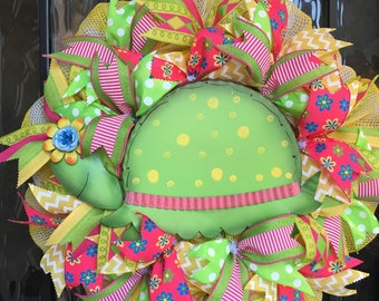 Sharyn Kaye's, Turtle Wreath, Spring Wreath, Summer Wreath, Yellow and White Mesh Wreath, Spring Front Door, Summer Front Door, Green Turtle