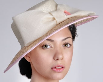 NEW summer collection hat, wide brim women accessory made of natural straw. Handcrafted in London studio, Royal Ascot, Weddings, Formal Hat
