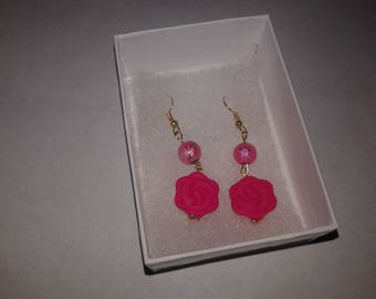 18k gold plated, pink and rose glass bead earings