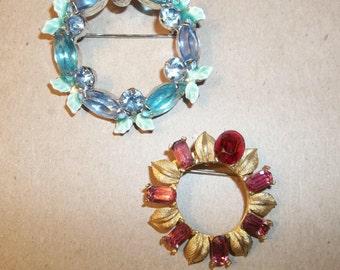 Beautiful Vintage Gemstone Brooch, Broach in Pink or Blue. GIFT.