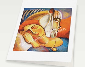 horse woman art, woman and horse painting, divine feminine room wall decor affordable art gifts, woman card, blank art card, 6x8