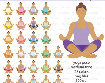 Yoga Pose Medium Tone Icon Digital Clipart in Rainbow Colors - Instant download PNG files