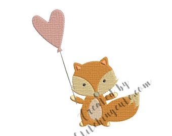 Fox with balloon machine embroidery file.  Instant download.  Multiple sizes.