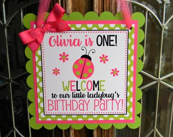 Ladybug Birthday Party Personalized Welcome Door Sign in Pink and Green - Ladybug Party Decorations - Ladybug Door Hanger - Ladybugs Decor