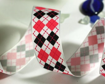 Pink and Black Christmas Ribbon: White Wire Edged Ribbon with Pink and Black Diamond Print with white edge - 3 yards - 1 1/2 inch wide