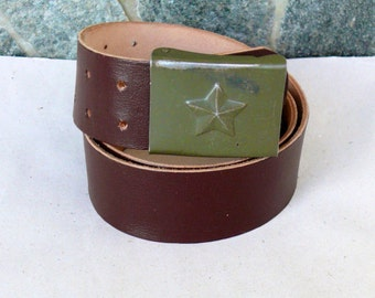 Vintage Czech  Military  Leather BELT, Czech belt with a star, Military brown leather Belt, Rugged leather belt, Czech Army,sturdy belt