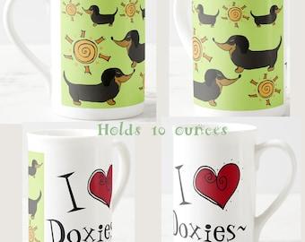 Personalized doxie mug dachshund mug bone china tea coffee mug custom doxie gift dogs sunshine hearts choose your text the rustic home