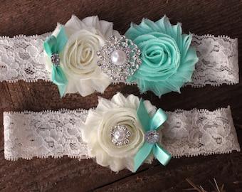 Mint Wedding Garter - Mint Green Wedding Garder Mint Gartar Ivory and Mint Seafoam Wedding Color Mint Wedding Mint Bling Garter plus size