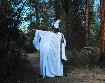Wizard Costume with cone hat, tunic, and floppy-sleeved robe - Made to Order