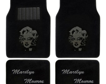 Marilyn Monroe Crystal Diamond Bling Rhinestone Carpet Car SUV Truck Floor Mats 4 PCS Black