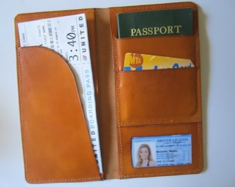 Leather Passport Cover - Passport Holder - Leather Travel Wallet - Boarding Pass Cover - Custom Passport Wallet