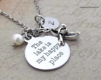 The lake is my happy place Kayak Boat Charm Necklace Personalized Hand Stamped Initial Birthstone Antique Silver Lake Charm Necklace