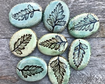 MADE TO ORDER: Pressed Ceramic Fern Ring to Pendant