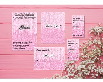 Pink & Silver -Quince Invitation,RSVP, Thanks, Damas, Chamberlan Set