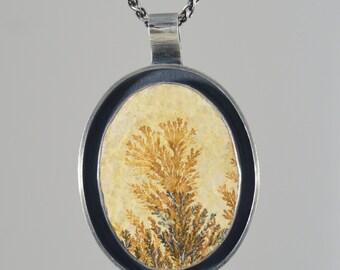 dendritic limestone oval sterling silver pendant necklace