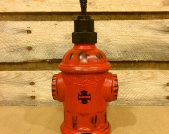 Red Fire Hydrant Soap Dispenser, Hand Painted Glass Fire Hydrant, Firefighter hand soap pump, firefighter gift, repurposed hydrant jar