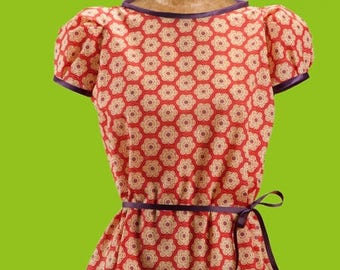 Pattern top woman tunic dress with puffed sleeves easy