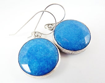 Blue Round Gemstone Earrings - Jade - Matte Silver plated with Sterling Silver Earwire