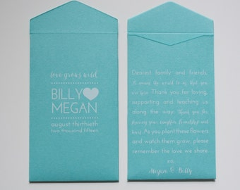 Turquoise Custom Seed Packet Boho Wedding Favor Envelopes - Many Colors Available