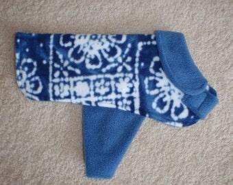 Blue Batik Fleece Dog Coat