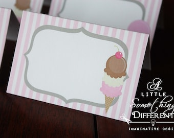 Pink Ice Cream Party Tent Cards / Ice Cream Party Decor / Ice Cream Parlor / Birthday / Baby Shower / Retirement / Place Cards / Buffet Card