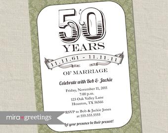 Damask Anniversary Invitation -  Printable Digital File