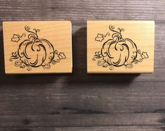 Designed Pumpkin With Vines Small Wooden Block Stamp