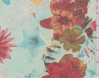 Mint/Fire Orange Floral Bloom Chiffon, Fabric By The Yard