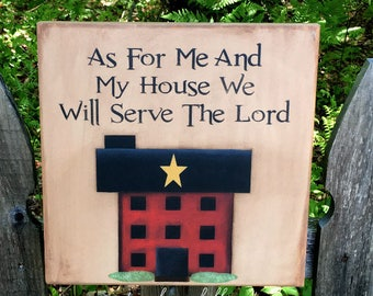 Primitive home decor, Christian wall art, scripture verse sign, Joshua 24:15, best selling items wood, hand painted wooden sign, mother gift