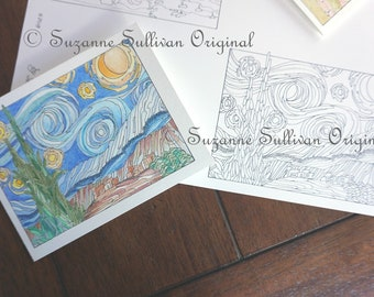 Blank Note Cards to Color, Adult Coloring Page, Starry Night and Irises, Van Gogh, 2 Note Cards, DIY Note Cards to Color, 302, Stress Relief