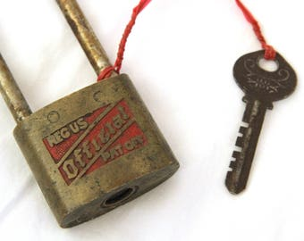 Antique Padlock With Key Reg US Official