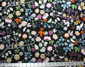 Butterflies, Birds and Flowers on Black Canvas Fabric - IKEA Home Decor Fabric