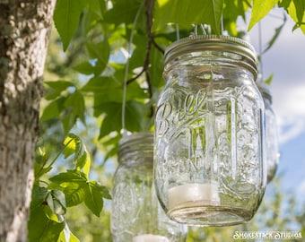 Set of 12 Hanging Mason Jar Candle Holders - Hanging Wedding Candles - Rustic Modern Lighting - Barn Wedding - Outdoor Lighting - Jars