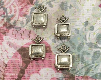 TV Charms -4 pieces-(Antique Pewter Silver Finish)