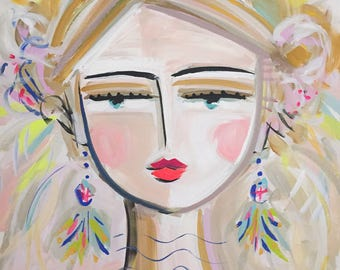 Warrior Girl PRINT, abstract faces, Maren Devine, paper or canvas, BO